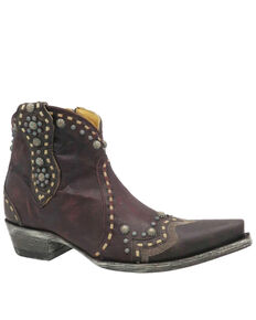 Old Gringo Women's Cherrie Studded Fashion Booties - Snip Toe, Black/red, hi-res
