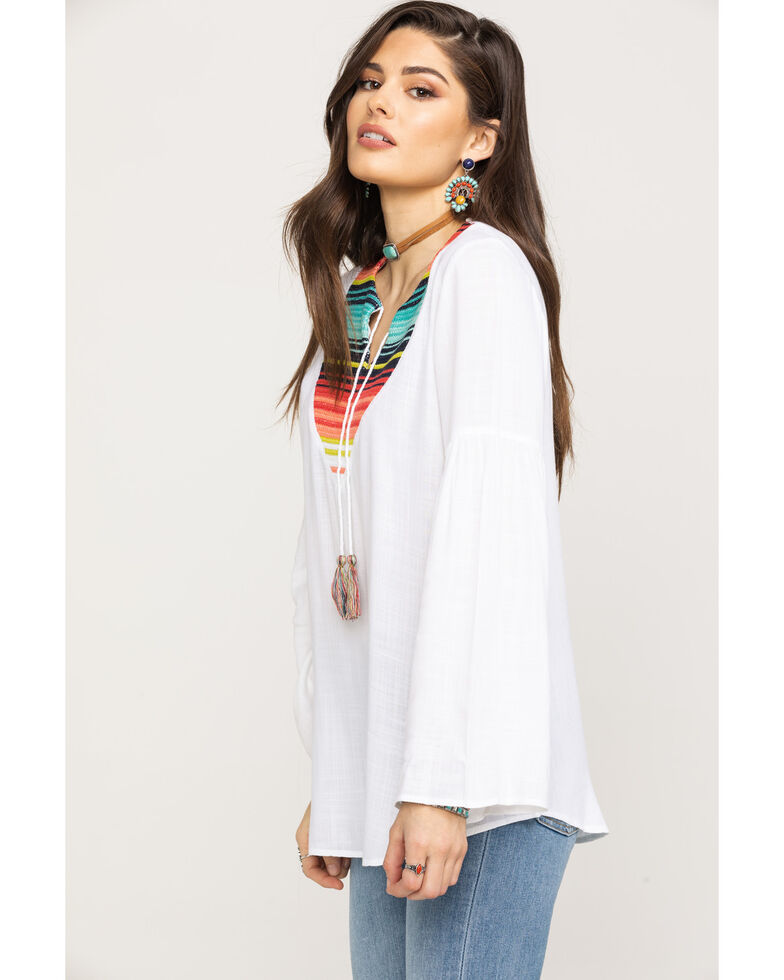 Ariat Women's Acacia Bell Sleeve Top, White, hi-res