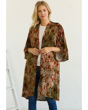Mystree Women's Flocked Paisley Velvet Duster Kimono, Burgundy, hi-res