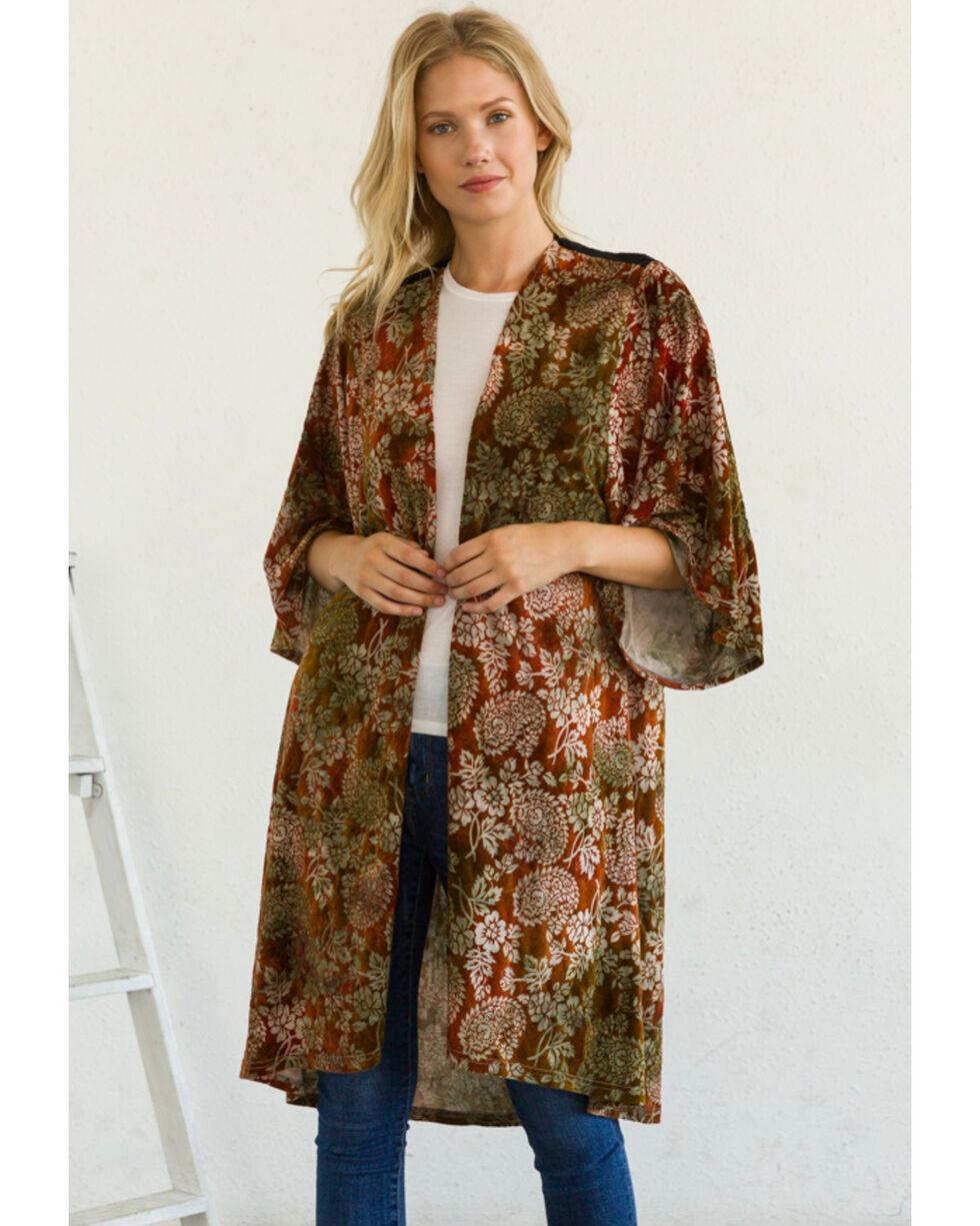 Mystree Women's Flocked Paisley Velvet Duster Kimono, Burgundy, hi-res