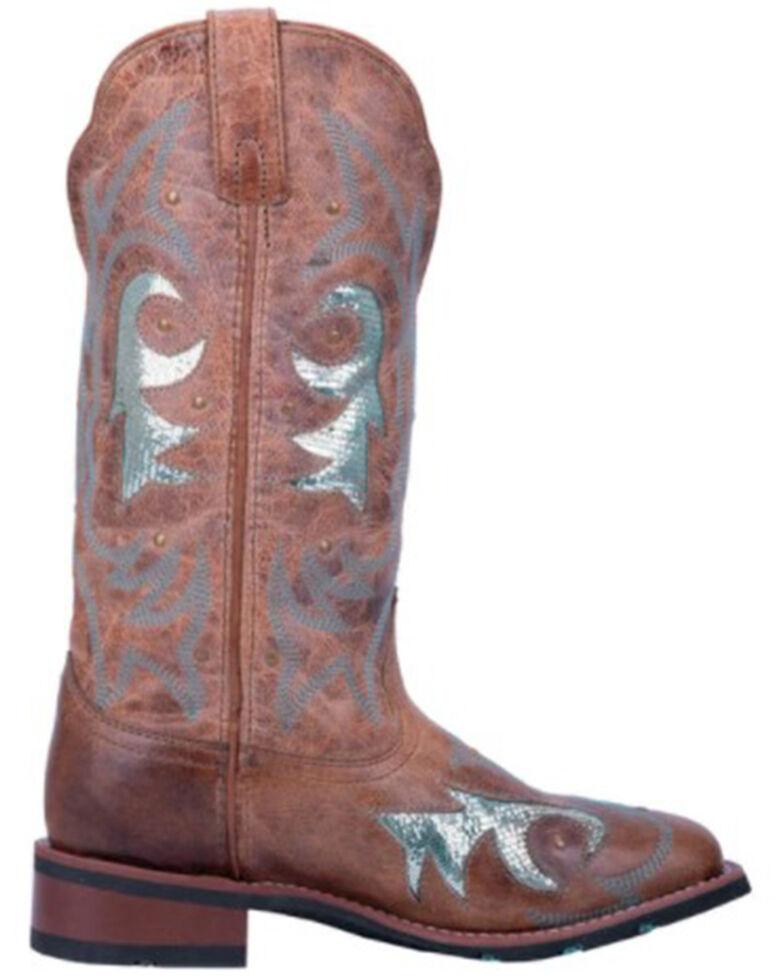 Laredo Women's Aquarius Turquoise Sequin Western Boots - Wide Square Toe, Brown/blue, hi-res