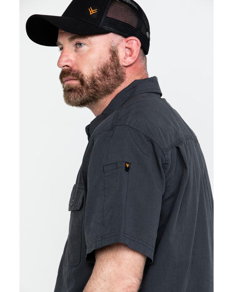Hawx Men's Charcoal Solid Yarn Dye Two Pocket Short Sleeve Work Shirt - Big, Charcoal, hi-res