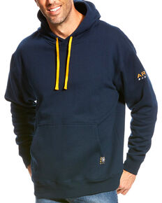 Ariat Men's Rebar Navy Logo Hoodie, Navy, hi-res