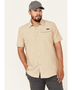 Wrangler ATG Men's All-Terrain Solid Tan Shooter Short Sleeve Button-Down Western Shirt , Tan, hi-res