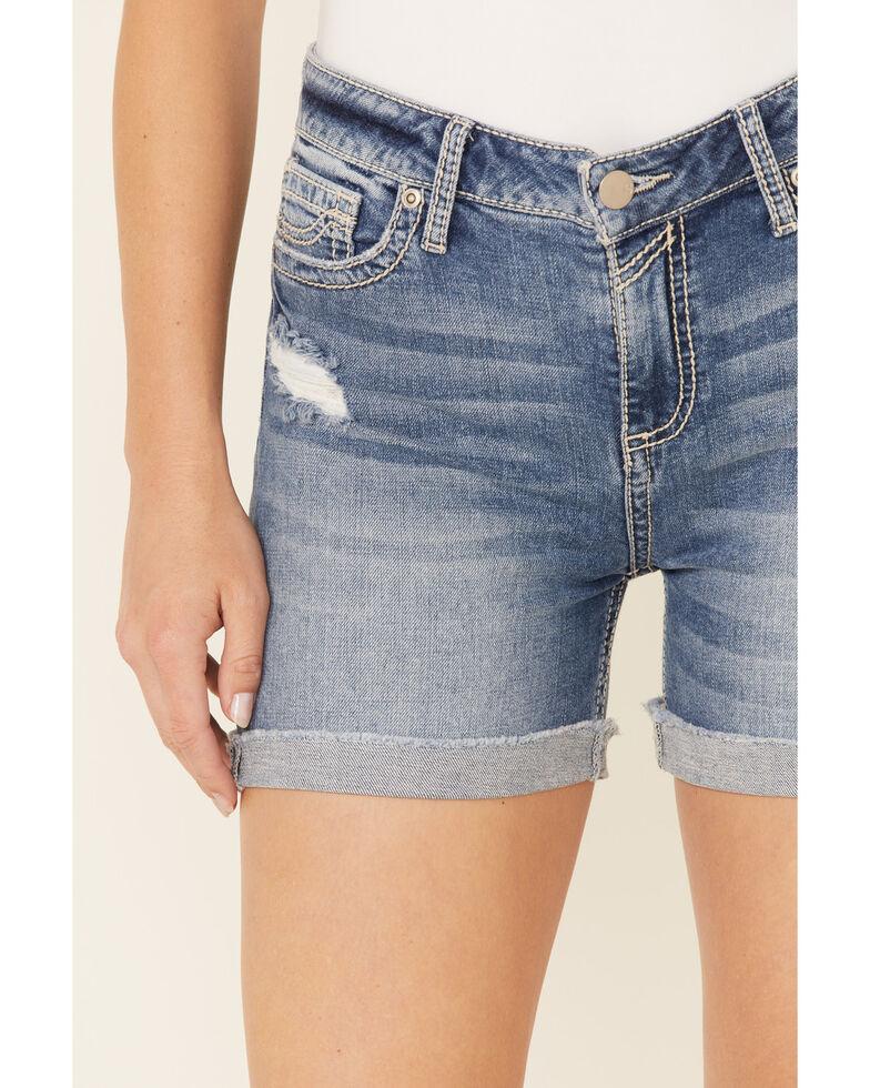Sailey Women's Destruction Stitch Pocket Shorts, Blue, hi-res