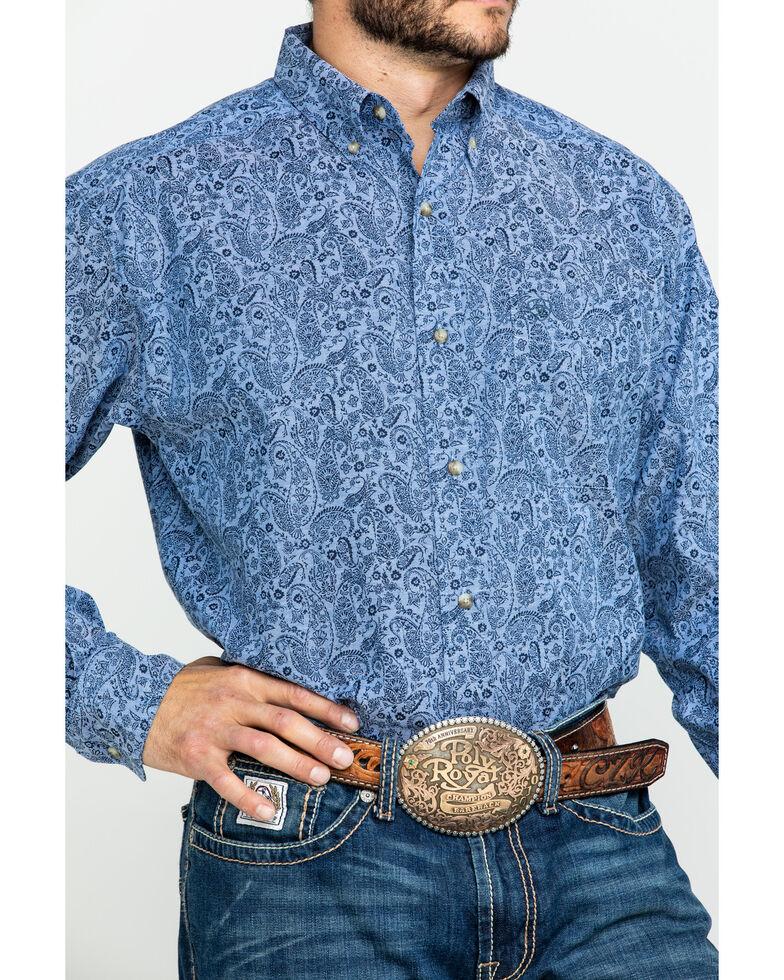 Ariat Men's Urbrick Stretch Paisley Print Long Sleeve Western Shirt - Big , Blue, hi-res