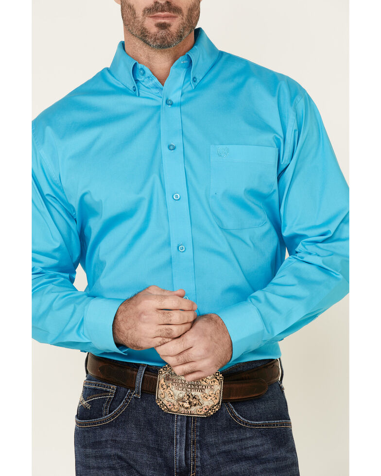 Panhandle Select Men's Turquoise Stretch Long Sleeve Western Shirt  , Turquoise, hi-res