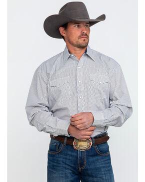 Stetson Men's Blue Small Geo Print Long Sleeve Western Shirt , Blue, hi-res