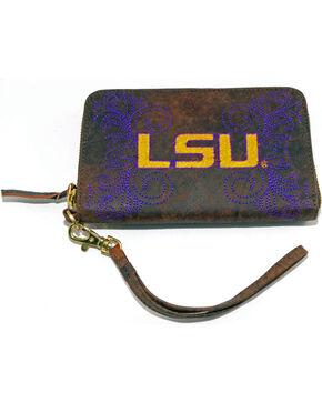 Gameday Boots Louisiana State University Leather Wristlet, Brass, hi-res