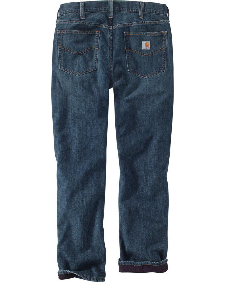 Carhartt Men's Fleece Lined Holter Jeans - Straight Leg , Indigo, hi-res