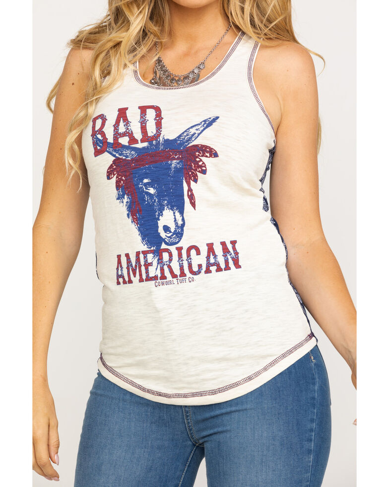 Cowgirl Tuff Women's Bad Ass American Tank Top, Red/white/blue, hi-res