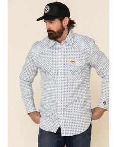 Wrangler FR Men's White Small Geo Print Long Sleeve Work Shirt - Big , White, hi-res