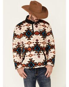HOOey Men's Cream Aztec Print 1/4 Zip-Front Fleece Pullover , Cream, hi-res