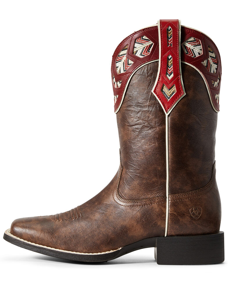 Ariat Women's Round Up Monroe Western Boots - Wide Square Toe, Brown, hi-res