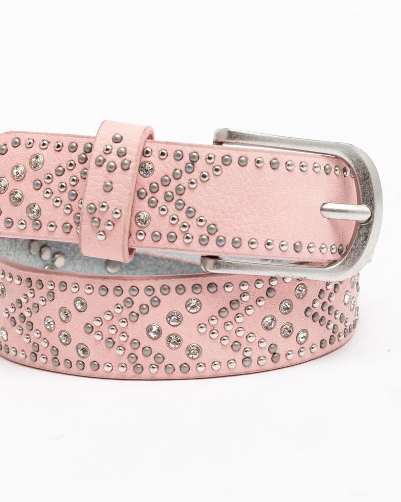 Shyanne Girls' Pink Chevron Rhinestone Western Belt, Pink, hi-res