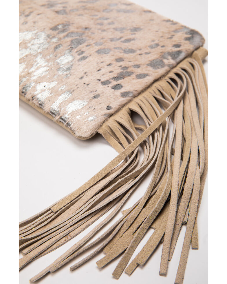 Shyanne Women's Grey Glitter Inlay With Fringe Crossbody Bag, Silver, hi-res