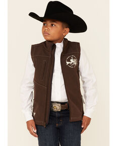 Cowboy Hardware Boys' Brown Just Rope It Embroidered Poly Shell Zip-Front Vest, Brown, hi-res