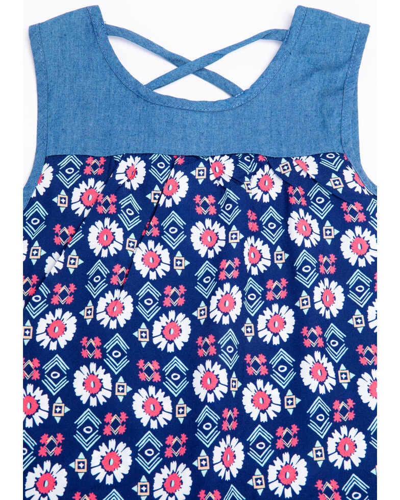 Shyanne Girls' Aztec Print Chambray Top, Multi, hi-res