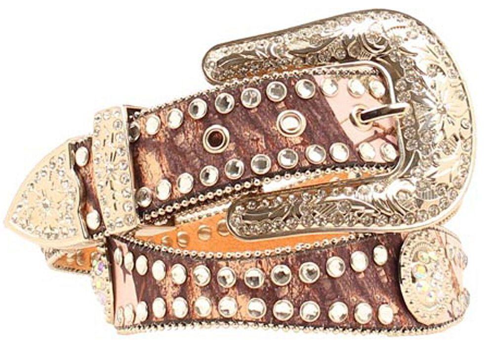 Blazin Roxx Pink Mossy Oak Embellished Belt, Pink, hi-res
