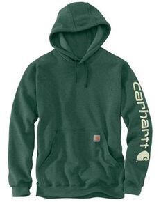 Carhartt Men's North Woods Heather Signature Sleeve Logo Hooded Work Sweatshirt, Green, hi-res