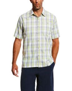 Ariat Men's Silver TEK Solitude Plaid Button Short Sleeve Shirt, Silver, hi-res