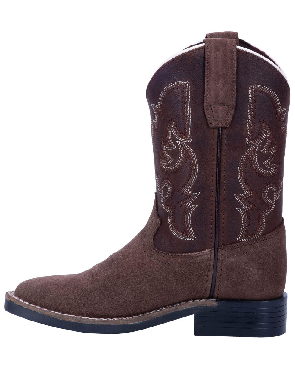 Dan Post Boys' Davie Western Boots - Wide Square Toe, Brown, hi-res