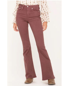 Miss Me Women's X-Shaped Flap Pocket High Rise Flare Jeans , Pink, hi-res