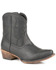 Roper Women's Shay Fashion Booties - Snip Toe, Black, hi-res