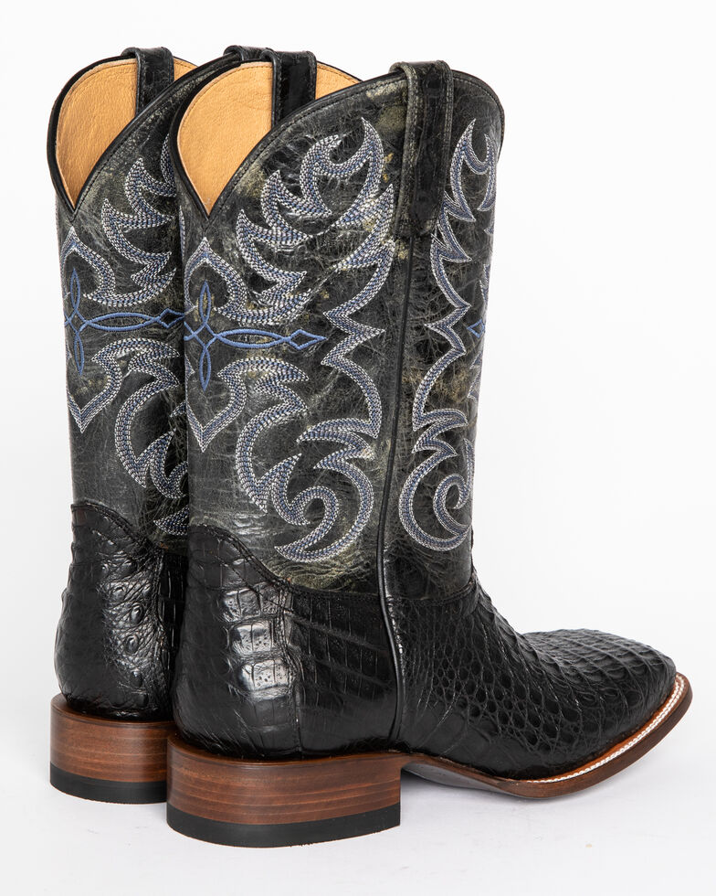 Cody James Men's Caiman Embroidered Exotic Boots - Wide Square Toe , Black, hi-res