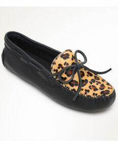 Minnetonka Women's Classic Driver Leopard Moccasins - Moc Toe, Leopard, hi-res