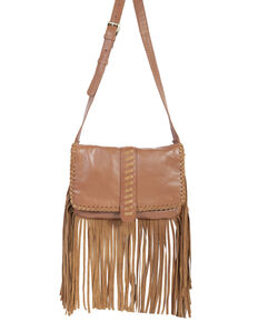 Scully Women's Crossbody Fringe Leather Handbag, Tan, hi-res