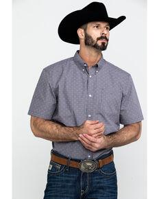 Cody James Core Men's Crossed Up Check Plaid Short Sleeve Western Shirt , Purple, hi-res