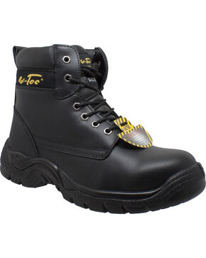 """Ad Tec Men's Leather 6"""" Lace-Up Work Boots - Steel Toe, Black, hi-res"""