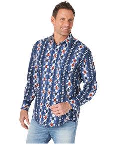 Wrangler Men's Indigo Aztec Checotah Print Long Sleeve Snap Western Shirt , Blue, hi-res