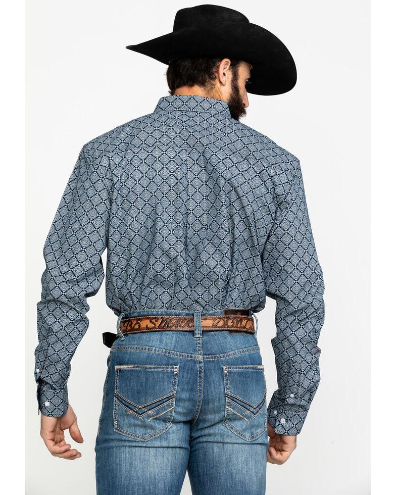 Cody James Core Men's Llano Geo Print Long Sleeve Western Shirt , Navy, hi-res