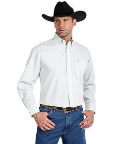 George Strait by Wrangler Men's Small Circle Geo Print Long Sleeve Western Shirt - Big , White, hi-res