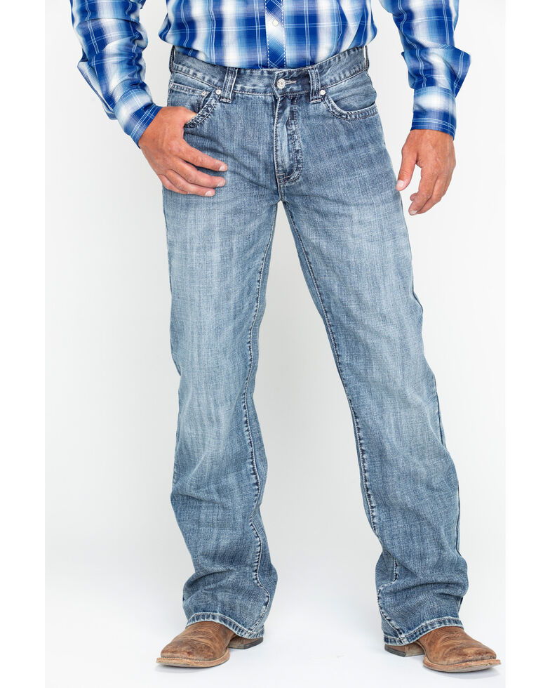 Rock and Roll Cowboy Men's Double Barrel Abstract Embroidered Boot Jeans , Blue, hi-res