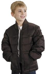 Roper Boys' Range Gear Quilted Nylon Jacket, Brown, hi-res