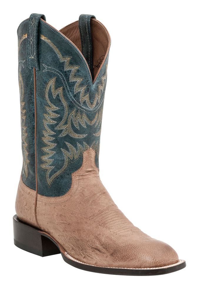 Lucchese Men's Handcrafted 1883 Burt Smooth Ostrich Cowboy Boots - Square Toe, Tan, hi-res