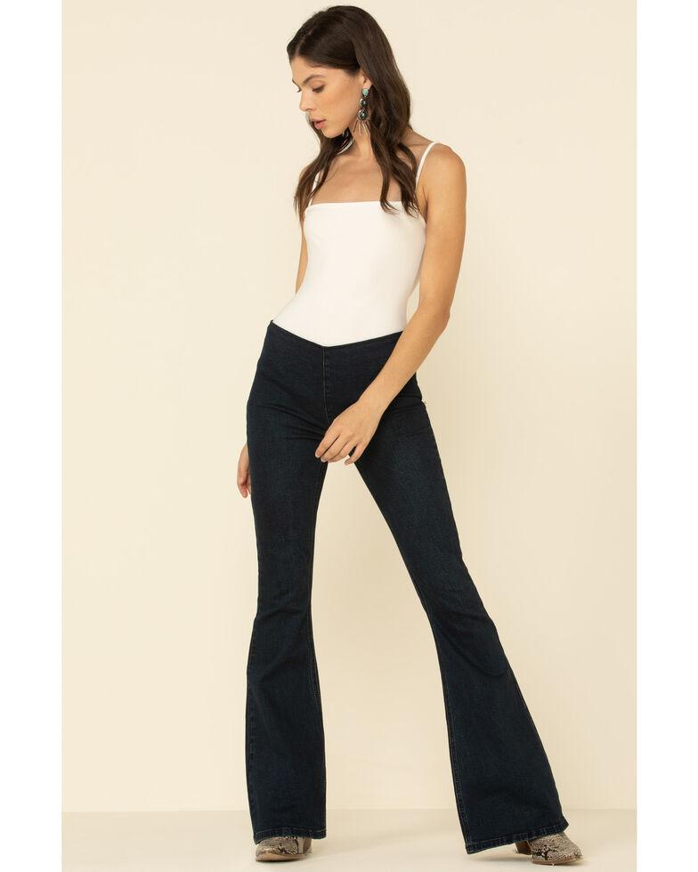 Rock & Roll Denim Women's Dark Wash Flare Jeans , Blue, hi-res
