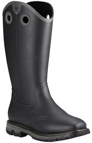 Ariat Men's Black Conquest Rubber Boots - Square Toe , Black, hi-res