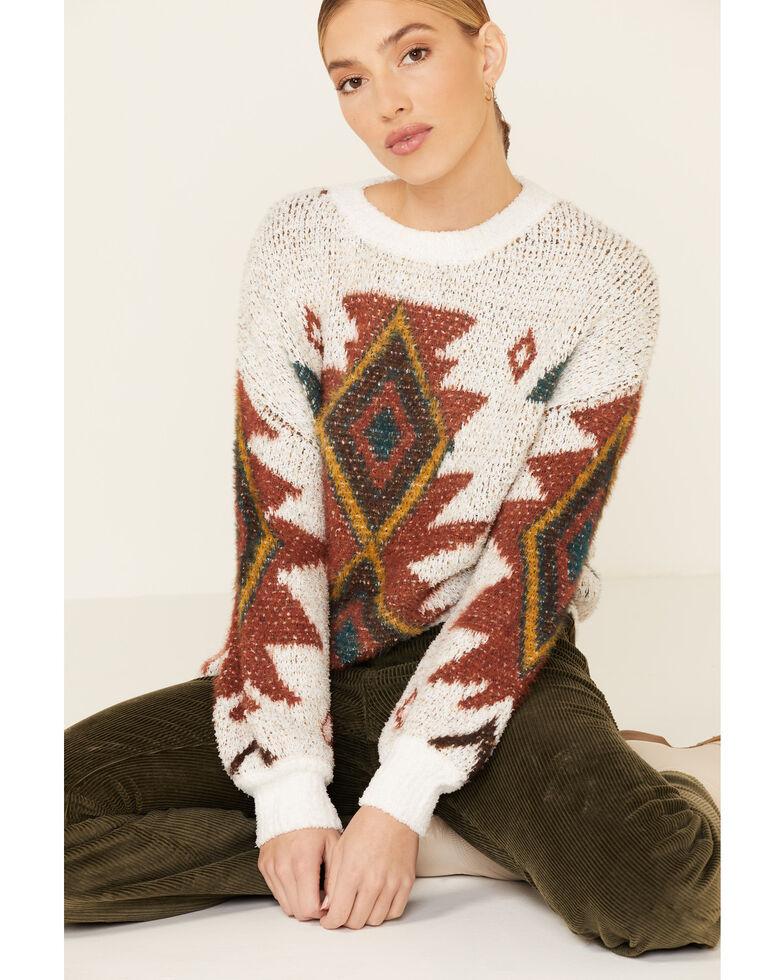 Hem & Thread Women's Ivy Aztec Pullover Sweater , Ivory, hi-res