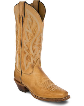 Justin Bent Rail Women's Quinlan Golden Tan Cowgirl Boots - Square Toe , Gold, hi-res