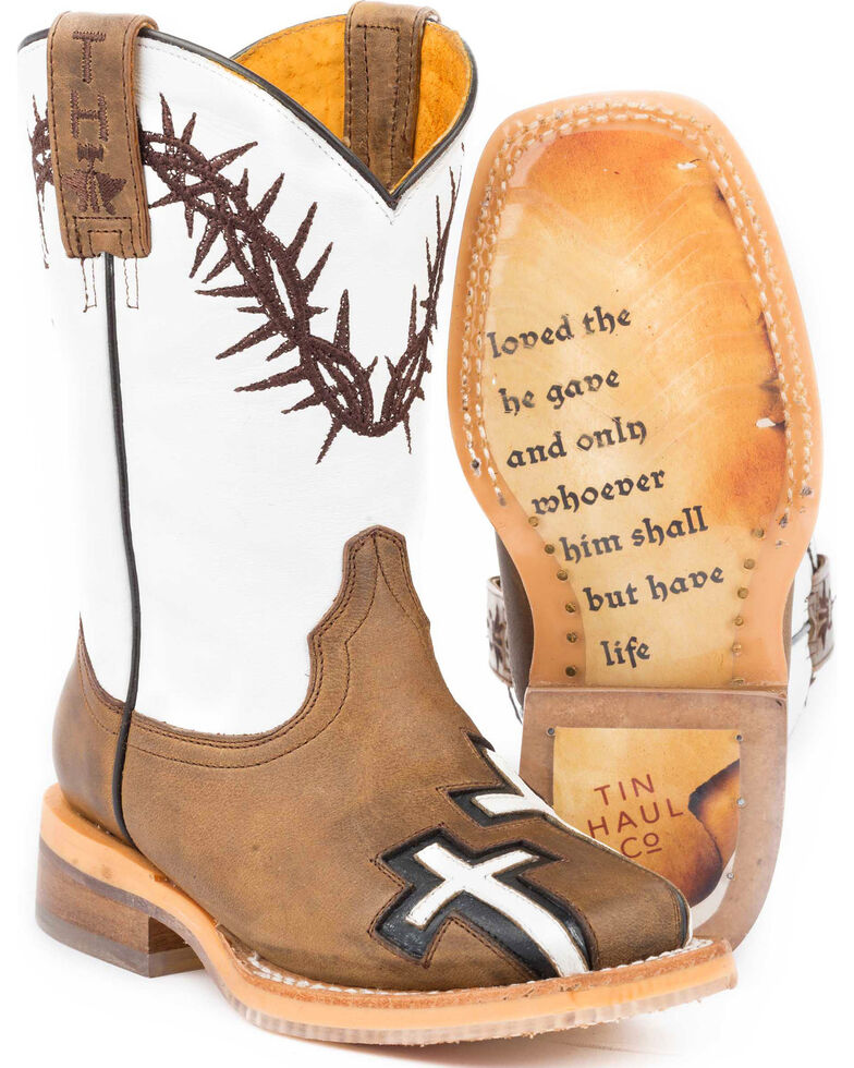 Tin Haul Boys' Tan Crosses Western Boots - Square Toe , Tan, hi-res