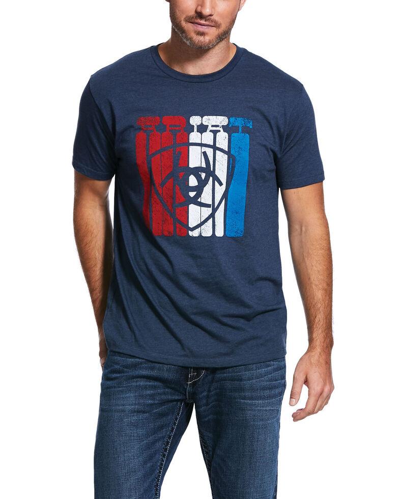 Ariat Men's Navy Standing Tall Logo Graphic Short Sleeve T-Shirt , Navy, hi-res