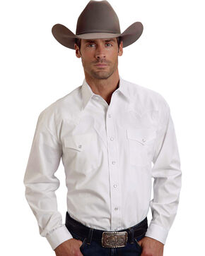 Stetson Solid White Fancy Yoke Western Shirt, White, hi-res