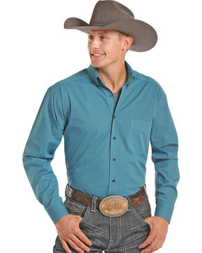 Tuf Cooper Men's Turquoise Competition Long Sleeve Shirt , Turquoise, hi-res