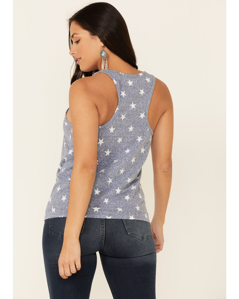 Cut & Paste Women's Star Print Land Of The Free Graphic Tank Top , Navy, hi-res