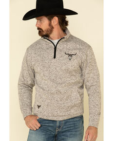 Cowboy Hardware Men's Tan Flag Skull Cadet Fleece Pullover Sweatshirt , Tan, hi-res