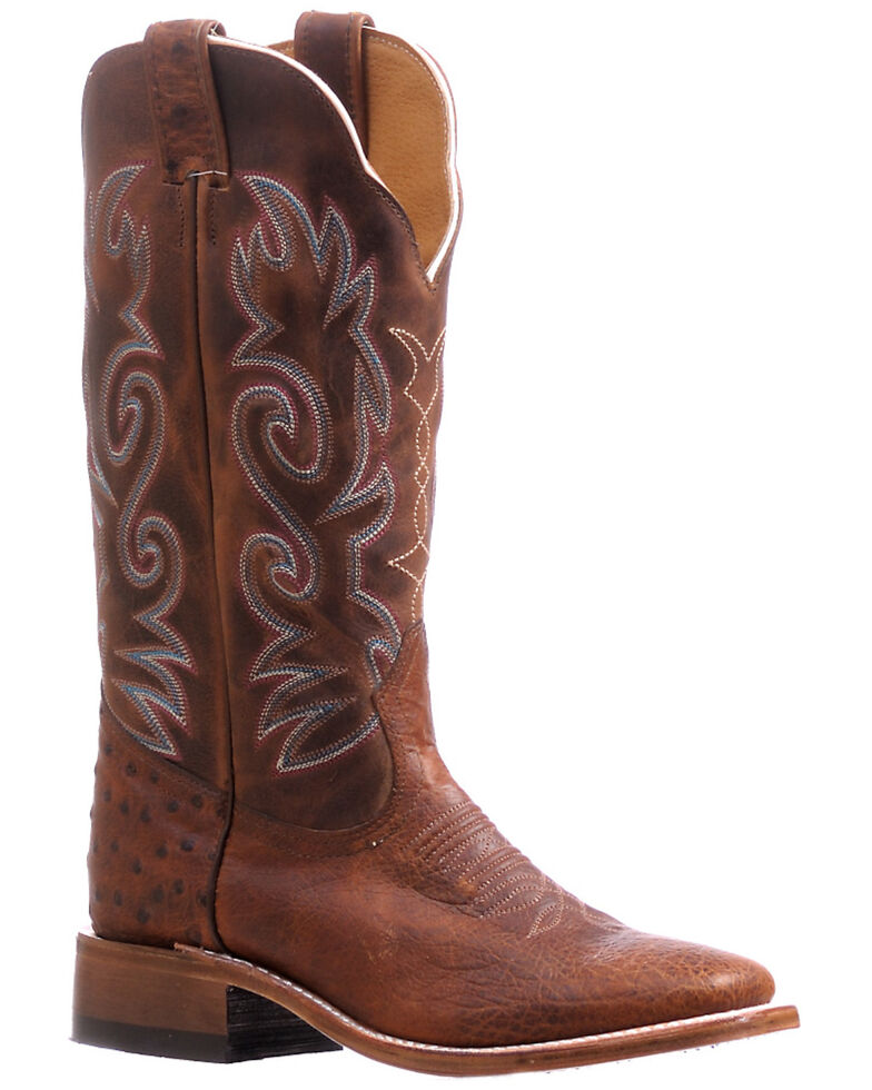 Boulet Women's Ostrich Western Boots - Wide Square Toe, Brown, hi-res